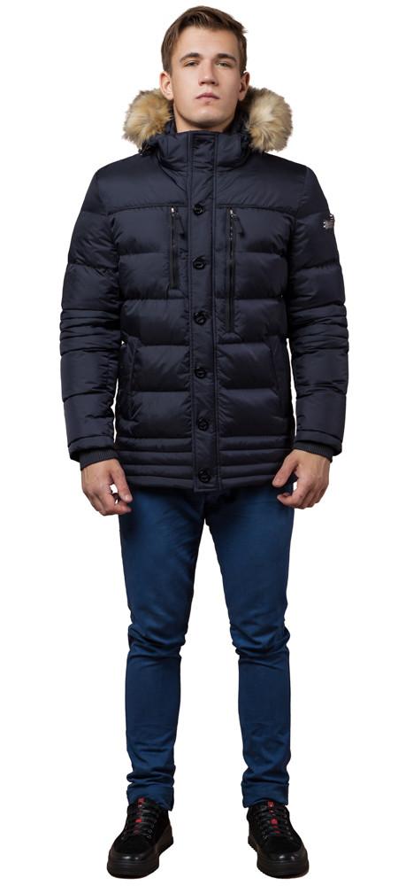 Темно-синяя мужская зимняя куртка с опушкой модель 45610 (ОСТАЛСЯ ТОЛЬКО 50(L))