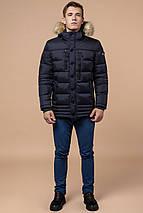 Темно-синяя мужская зимняя куртка с опушкой модель 45610 (ОСТАЛСЯ ТОЛЬКО 50(L)), фото 2