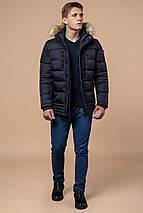 Темно-синяя мужская зимняя куртка с опушкой модель 45610 (ОСТАЛСЯ ТОЛЬКО 50(L)), фото 3
