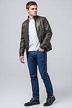 Кожаная стильная куртка цвет хаки модель 1588, фото 2
