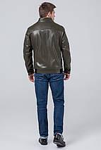 Кожаная стильная куртка цвет хаки модель 1588, фото 3