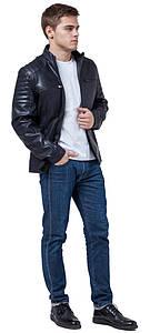 Модная мужская куртка на осень тёмно-синяя модель 3645 (ОСТАЛСЯ ТОЛЬКО 50(L))