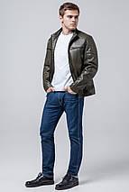 Продувається куртка осінньо-весняна молодіжна чоловіча кольору хакі модель 3645 розмір 50 (L), фото 2