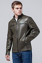 Продувається куртка осінньо-весняна молодіжна чоловіча кольору хакі модель 3645 розмір 50 (L), фото 3