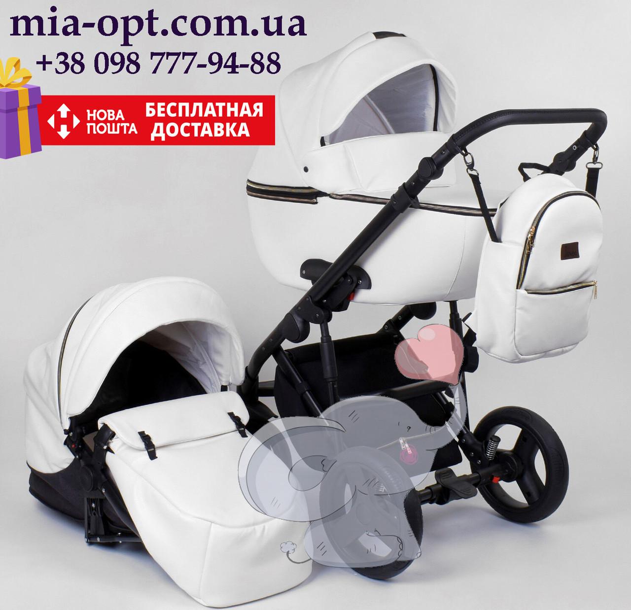 Детская коляска 2 в 1 Roxy (Rosy)  эко кожа белый