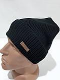 Мужская шапка на флисе зимняя с отворотом черная, фото 3