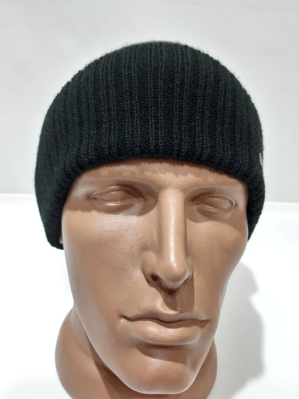 Чоловіча шапка на флісі зимова з коміром чорна