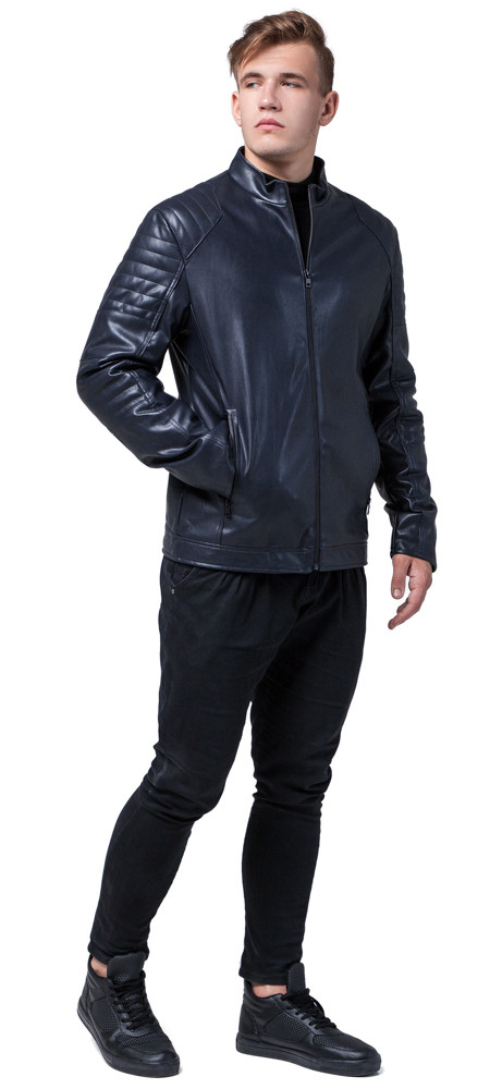 Непромокаємий молодіжна темно-синя куртка осінньо-весняна для чоловіків модель 4327 розмір 50 (L)