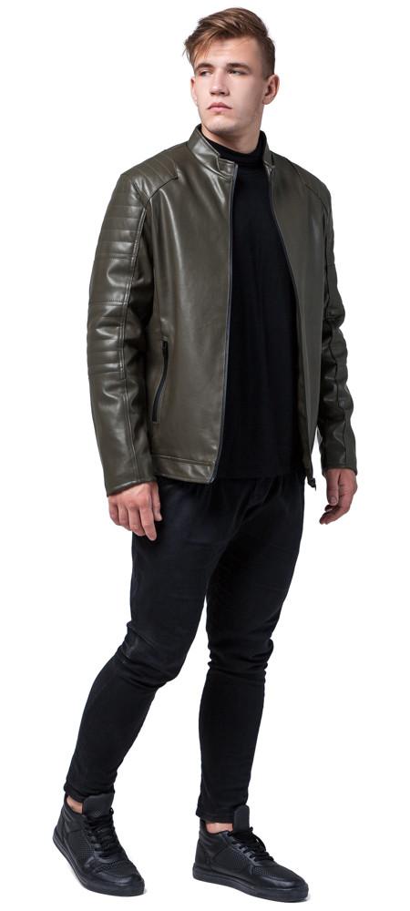 Стильная мужская куртка осенне-весенняя цвета хаки модель 4327