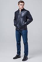Чоловіча осінньо-весняна куртка молодіжна темно-синя модель 4834 розмір 50 (L), фото 2