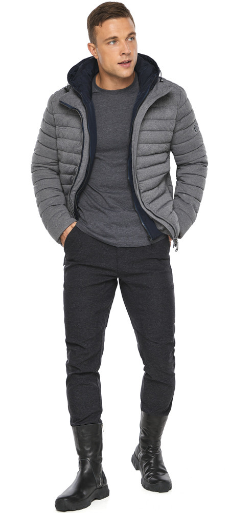 Зимова куртка – воздуховик чоловічий попелястого кольору модель 48210