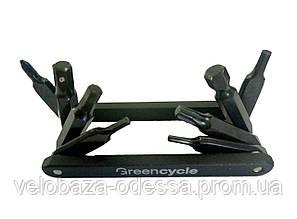 Компактный ключ Green Cycle GCM-089 складной 8 инструментов, черный