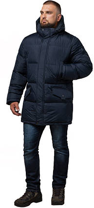 Зимняя мужская стильная куртка большого размера цвет темно-синий модель 3284 (ОСТАЛСЯ ТОЛЬКО 58(4XL)), фото 2