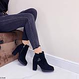 Женские ботильоны- ботинки ДЕМИ на каблуке 9 см черные эко замш весна/ осень, фото 5