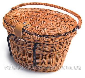 Корзина Basil DENVER на руль с крючками, плетеная, с ручкой и крышкой на застежке, овальная, фото 2