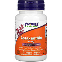 "Астаксантин NOW Foods ""Astaxanthin"" для здоровья глаз, 4 мг (60 гелевых капсул)"