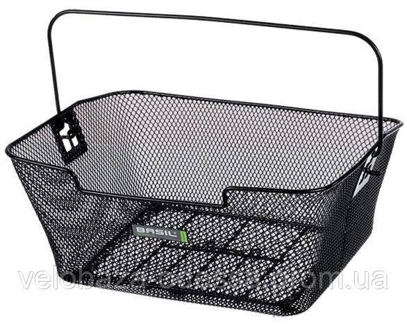 Корзина задн. Basil CAPRI стальная сетка,с ручкой, для установки на багажник, черная, фото 2