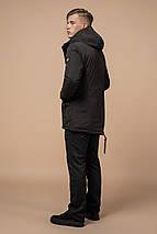 Мужская удобная парка зимняя цвет коричневый-темно-синий модель 1533 (ОСТАЛСЯ ТОЛЬКО 54(XXL)), фото 3