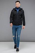Чорна чоловіча молодіжна осінньо-весняна куртка модель 38399 розмір 46 (S), фото 2