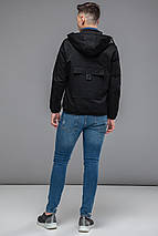 Чорна чоловіча молодіжна осінньо-весняна куртка модель 38399 розмір 46 (S), фото 3