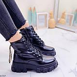 ТІЛЬКИ 36 р 23,5 см!!! Жіночі черевики ДЕМІ чорні на шнурівці еко шкіра весна осінь, фото 3