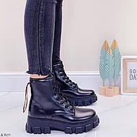ТОЛЬКО 39 р!!! Женские ботинки ДЕМИ черные на шнуровке эко кожа весна осень