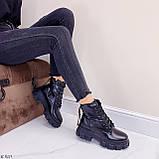 ТІЛЬКИ 36 р 23,5 см!!! Жіночі черевики ДЕМІ чорні на шнурівці еко шкіра весна осінь, фото 5