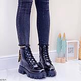 ТІЛЬКИ 36 р 23,5 см!!! Жіночі черевики ДЕМІ чорні на шнурівці еко шкіра весна осінь, фото 6