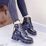 ТІЛЬКИ 36 р 23,5 см!!! Жіночі черевики ДЕМІ чорні на шнурівці еко шкіра весна осінь, фото 7