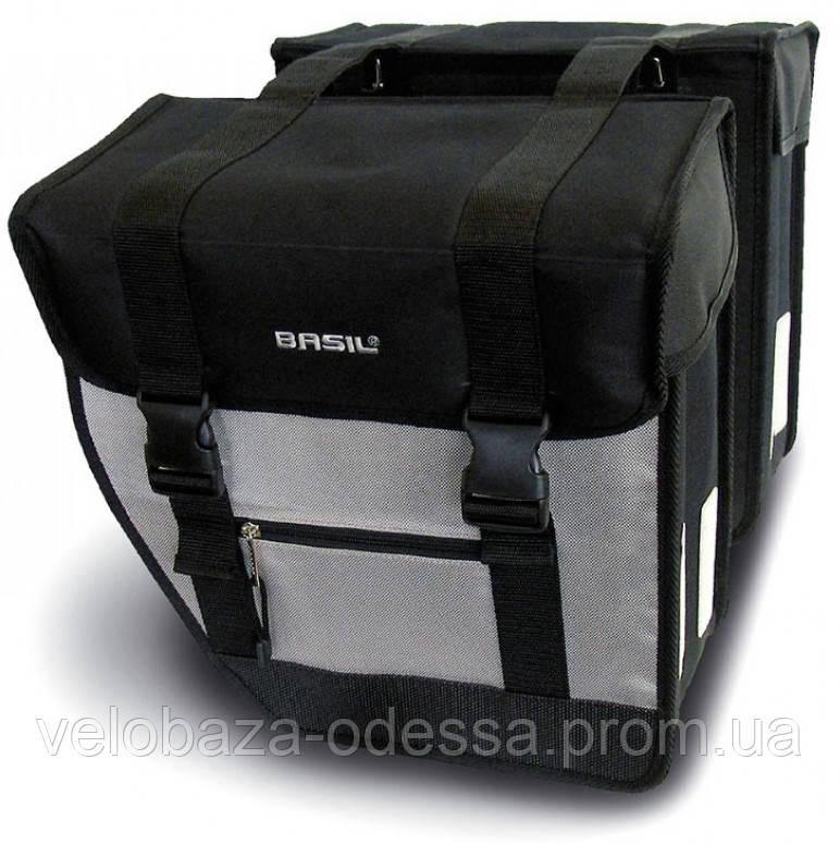 Сумка-штаны на/баг Basil TOUR XL 40 л., водоотталкив. полиэстер, черн-серебр.