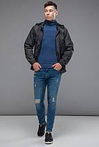Осінньо-весняна темно-сіра чоловіча молодіжна вітровка модель 38399 розмір 46 (S), фото 3