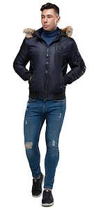 Ультрамодная мужская лёгкая куртка-бомбер тёмно-синяя модель 46575