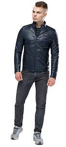 Курточка из искусственной кожи мужская осенне-весенняя тёмно-синяя модель 36361