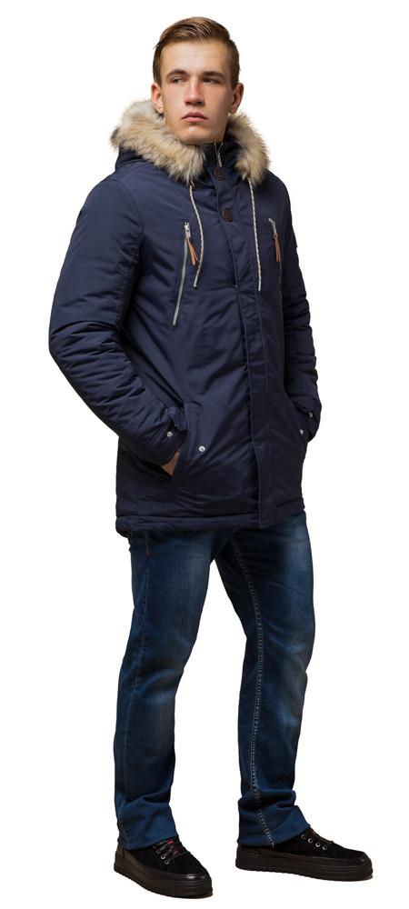Синяя зимняя короткая парка с прорезными карманами мужская модель 14015