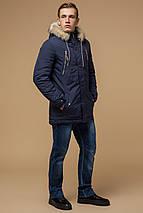 Синяя зимняя короткая парка с прорезными карманами мужская модель 14015, фото 2