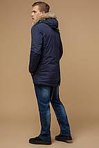 Синяя зимняя короткая парка с прорезными карманами мужская модель 14015, фото 3