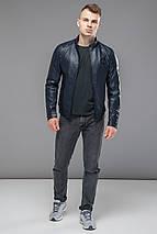 Темно-синяя мужская молодежная куртка непромокаемая осенне-весенняя модель 43663 (ОСТАЛСЯ ТОЛЬКО 50(L)), фото 3