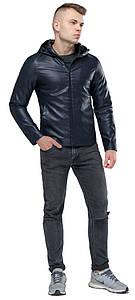 Стильная кожаная куртка мужская осенне-весенняя тёмно-синяя модель 15353