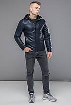 Стильная кожаная куртка мужская осенне-весенняя тёмно-синяя модель 15353, фото 2