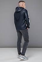 Стильная кожаная куртка мужская осенне-весенняя тёмно-синяя модель 15353, фото 3