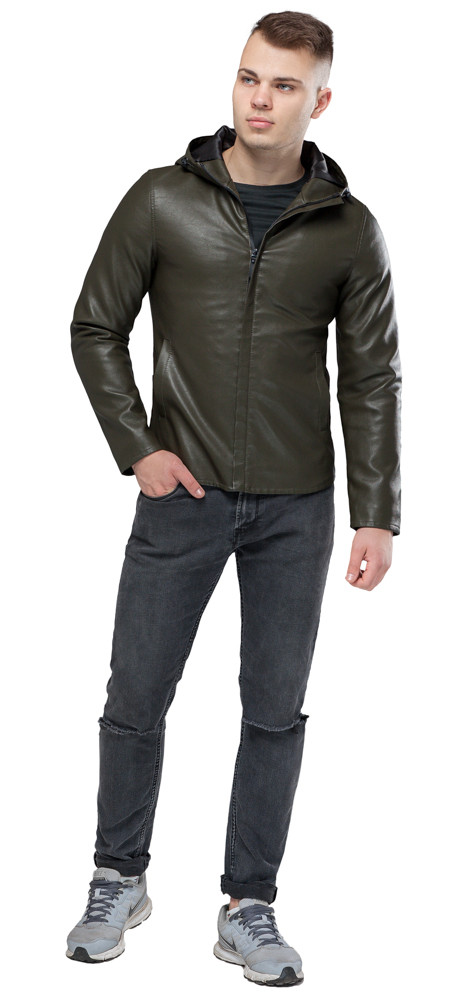Осенне-весенняя куртка из экокожи мужская цвет хаки модель 15353