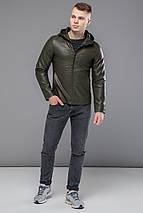 Осенне-весенняя куртка из экокожи мужская цвет хаки модель 15353, фото 2