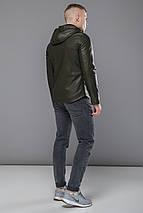 Осенне-весенняя куртка из экокожи мужская цвет хаки модель 15353, фото 3