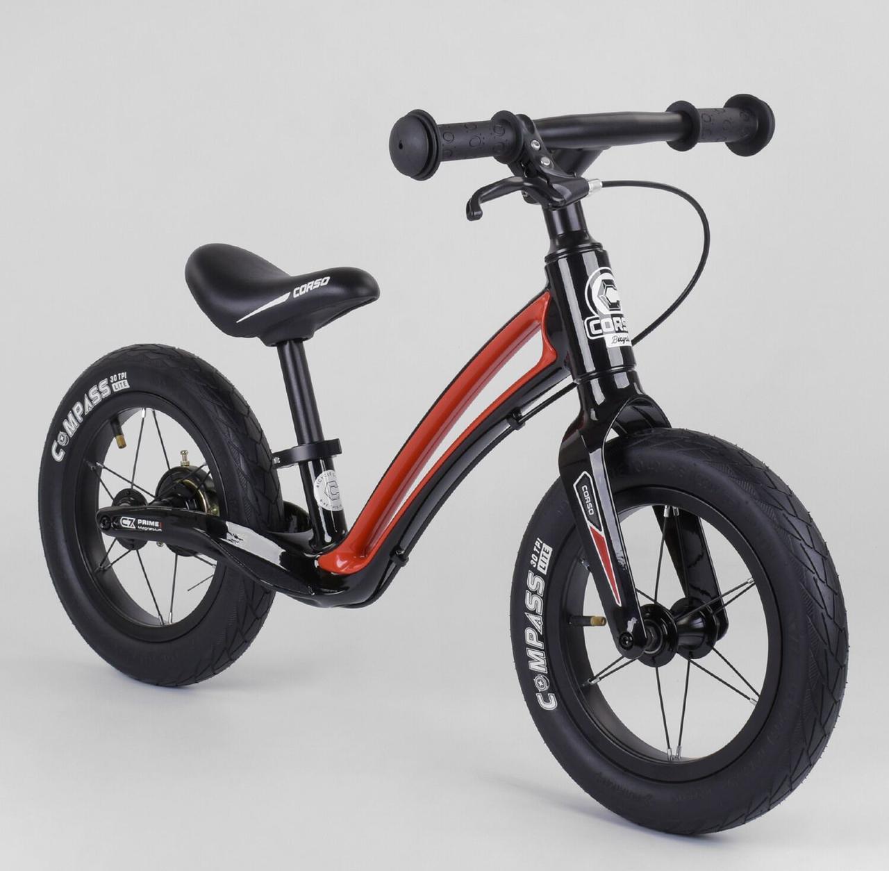 """Детский современный велобег для ребенка с ручным тормозом Corso """"Prime C7"""" 25303, черно-красный"""