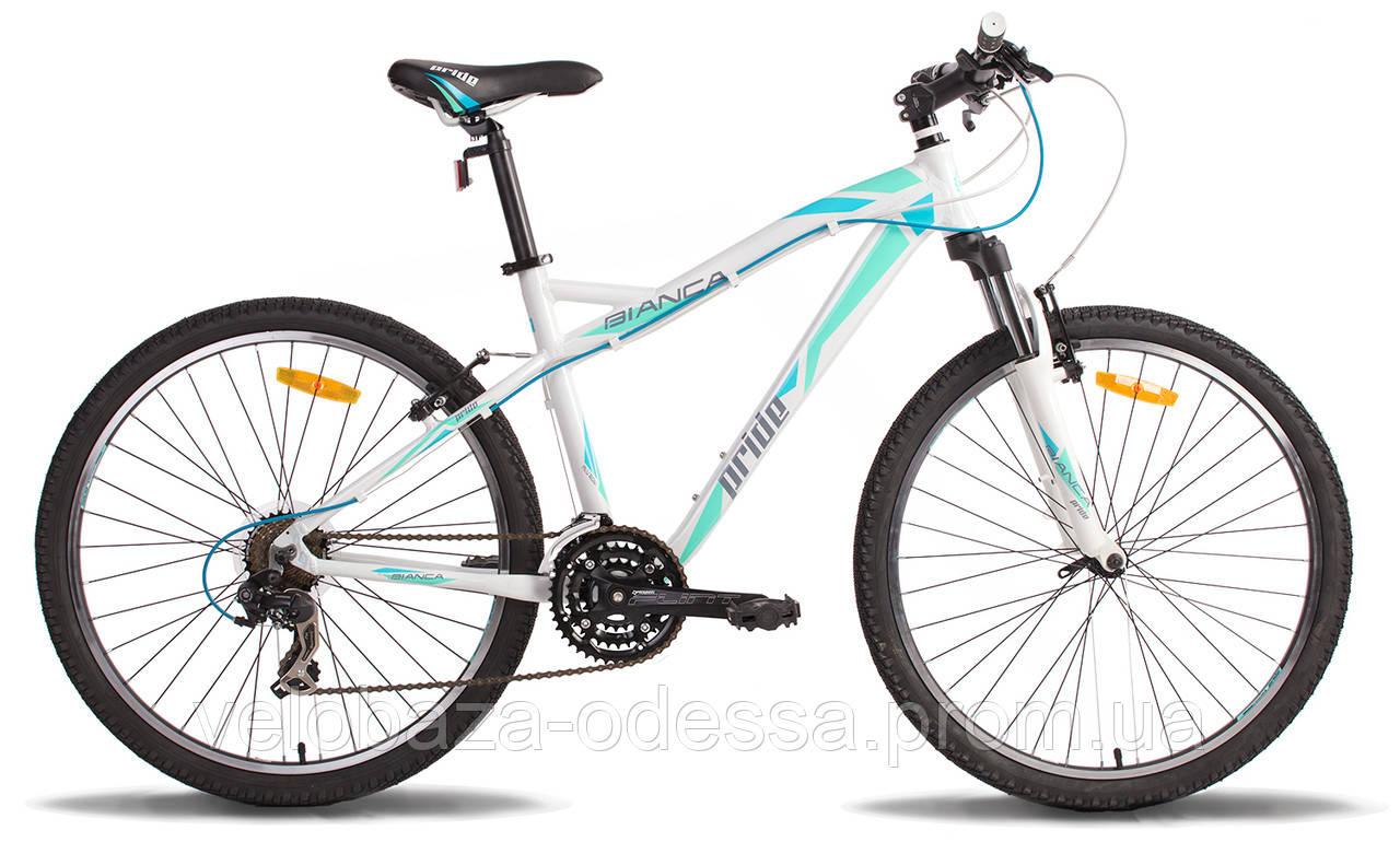 """Велосипед 26"""" Pride BIANCA рама - 16"""" бело-бирюзовый 2014"""
