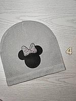 Шапка для дівчинки Демі Мікі з бантиком Розмір 52-54 см Вік 5-10 років, фото 7