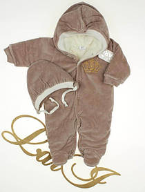 "Детский зимний комбинезон + шапочка ""Короны"", коричневый 62 размер"