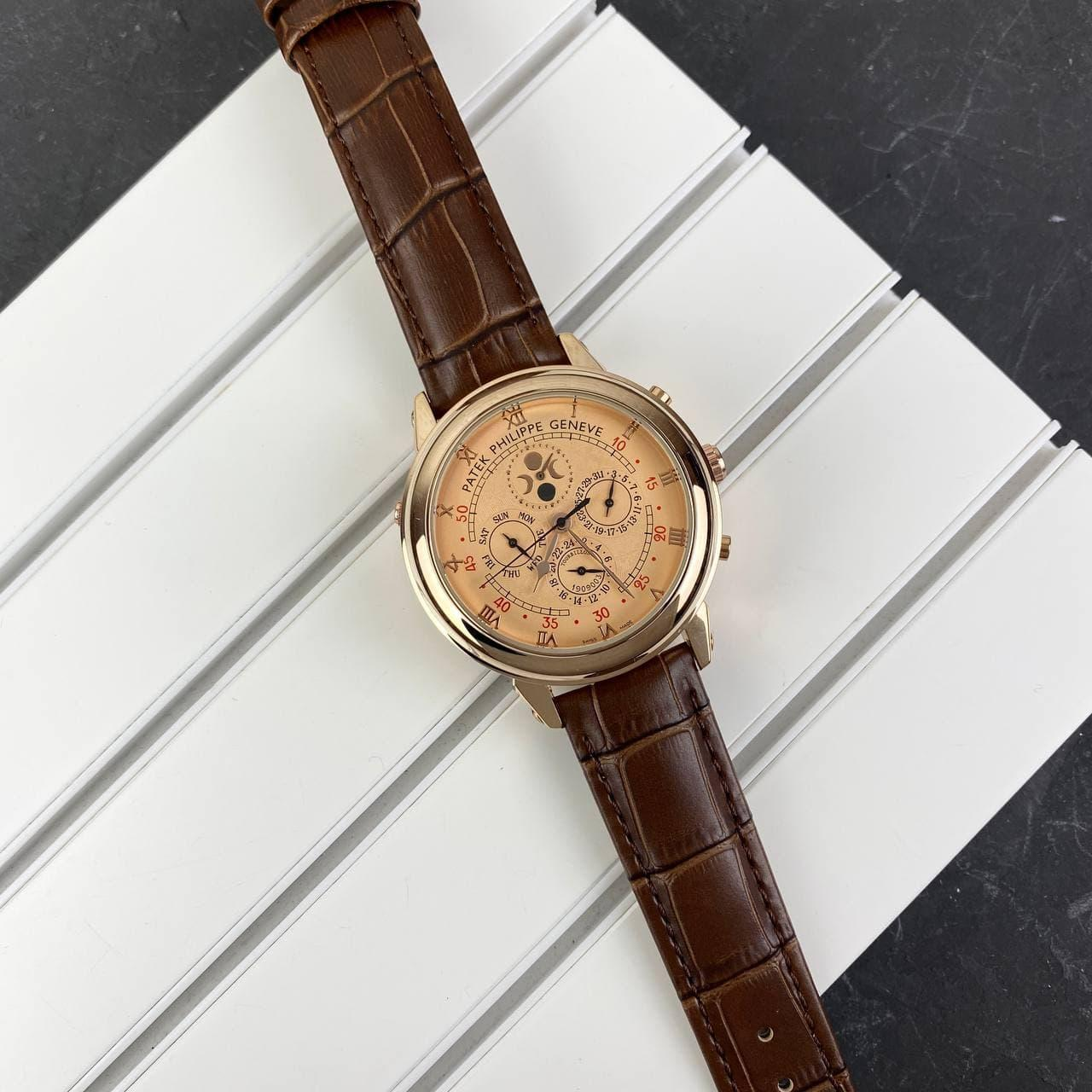 Мужские наручные часы Patek Philippe Grand Complications 5002 Sky Moon Brown-Gold-Milk New