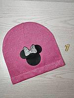Шапка для дівчинки Демі Мікі з бантиком Розмір 52-54 см Вік 5-10 років, фото 4