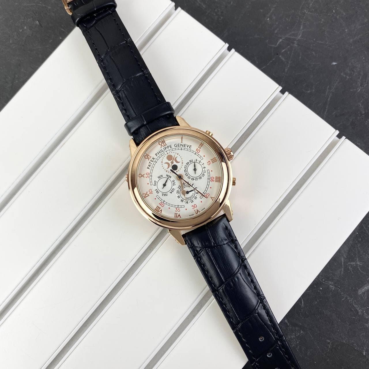 Мужские наручные часы Patek Philippe Grand Complications 5002 Sky Moon Black-Gold-White New